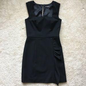 Express Ruffle Slit Little Black Dress